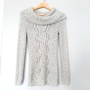 RICKI'S Cable Chunky Knit Silver Lurex Gray Cowl Neck Sweater Top Sz. S